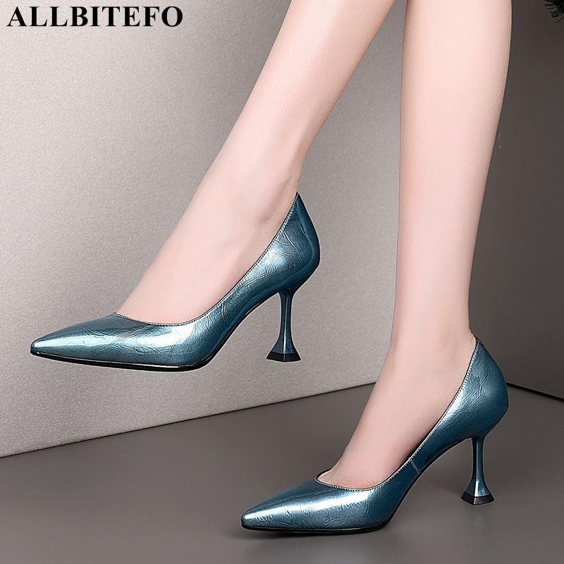 ALLBITEFO neue Art und Weise des echten Leders reizvolle Absatzfrauenschuhe Frauen hohe Schuhe Partei Fersen Mädchen