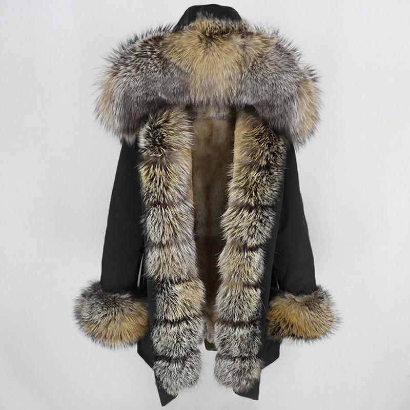 OFTBUY Su geçirmez Uzun Parka Kış Ceket Kadınlar Gerçek Kürk Doğal Fox Kürk Yaka Hood Kalın Sıcak Streetwear Ayrılabilir NewMX191009