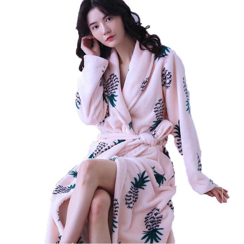 Winter Womens Robes Sleepwear Thick Warm Flannel Kimono Bathrobe for Women Flower Long Sleeve Coral Velvet Nightwear Homewear