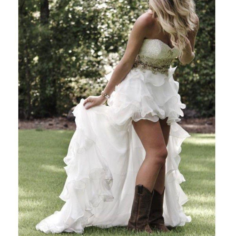 연인 프릴 계층 장식 조각 새해 비치 신부 가운 보헤미아 웨딩 드레스 핫 판매 높은 저지대 스타일 웨딩 드레스