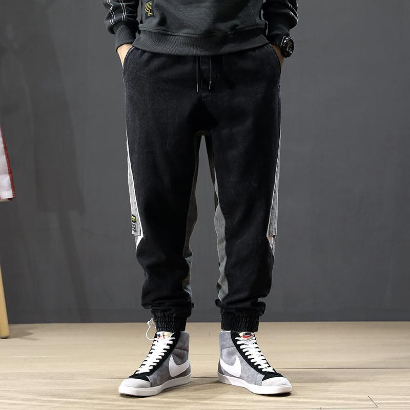 가을 패션 스트리트 남성 청바지 접합 디자이너 멀티 하렘 청바지 남성 카고 바지 엉덩이 엉덩이 조깅을 포켓