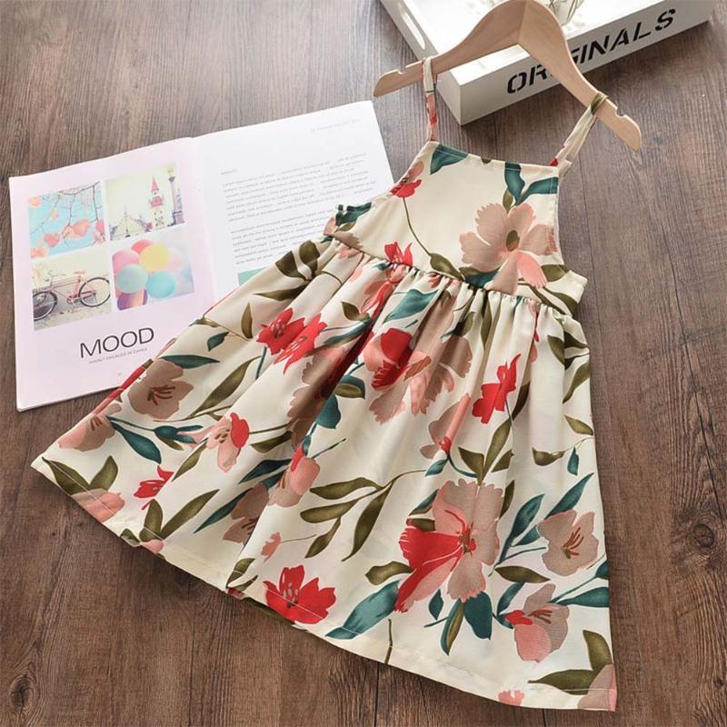 Amya Baby Kid Платья Лето 2020 Без Рукавов Цветочные Детская Одежда Принцесса Костюм Маленькие Девочки Платье Корейский Малыш Одежда