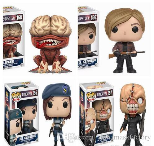 China FUNKO POP NEW Resident Evil 10cm NEMESIS,JILL VALENTINE,LICKER Action Figure Collection Model Toys for kids christmas gift Hot