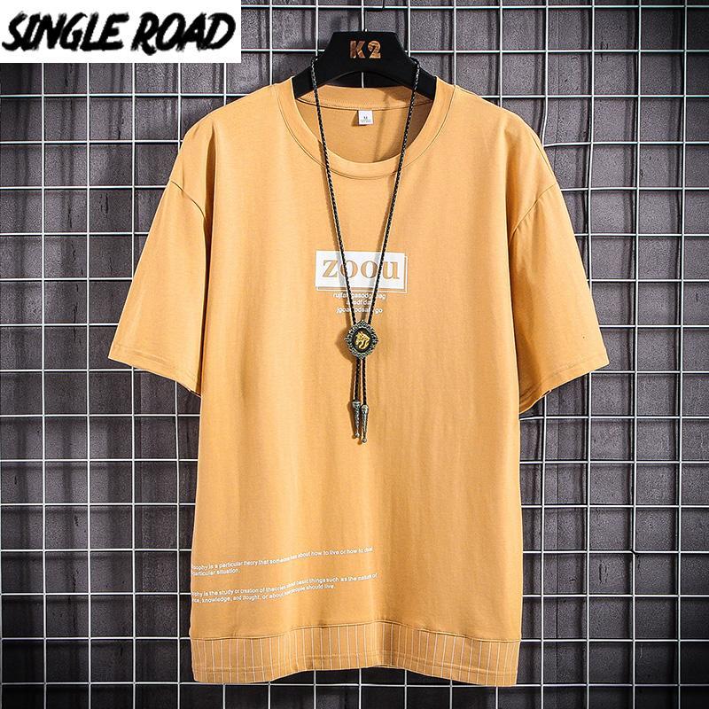 T-shirt dos homens SingleRoad Man 2020 impressão amarelo Oversized algodão Hip Hop Harajuku Camiseta Punk japonês Streetwear Camiseta Homens
