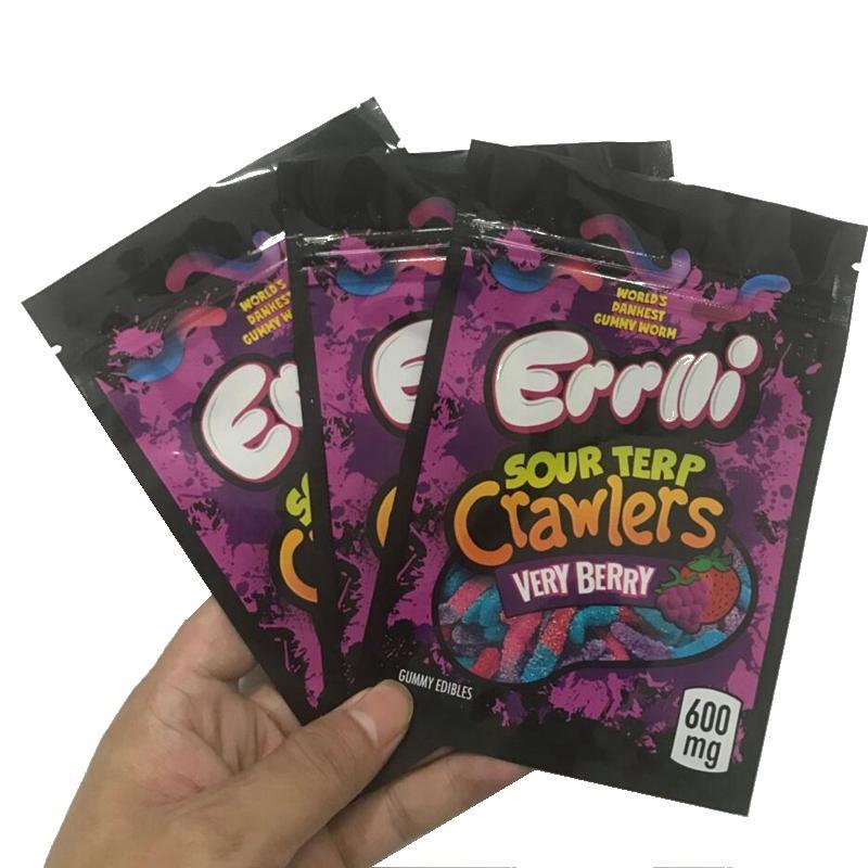 2020 New Errlli Sour Terp Terp Crawlers Sacs 600mg Gummy Edibles Packaging Sac Mylar 500mg Hashtag Honey Odeur Sacs Sacs Sacs Biscuits Sacs Californie Sacs
