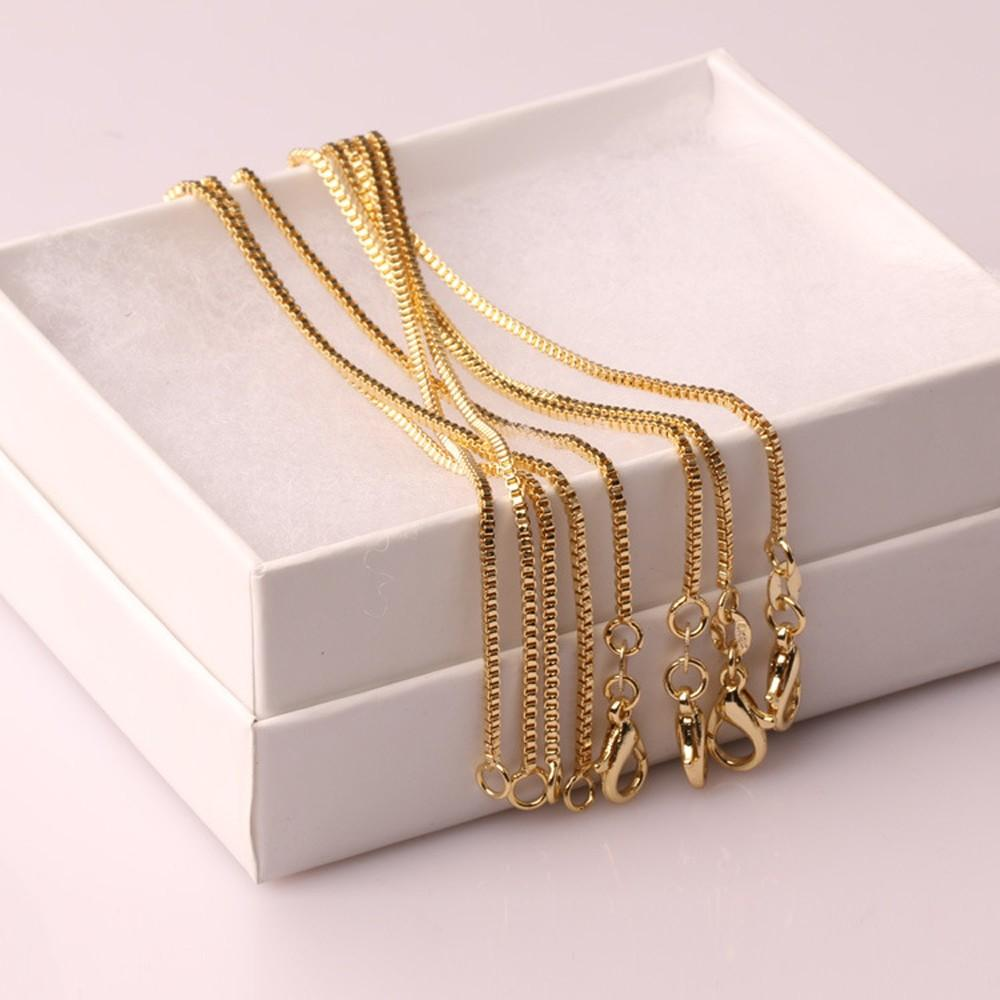 10 pcs Fashion Box Chain 18K Gold Plated Chains Pure 925 Silver Necklace long Chains Jewelry for Children Boy Girls Womens Mens 1mm 2020