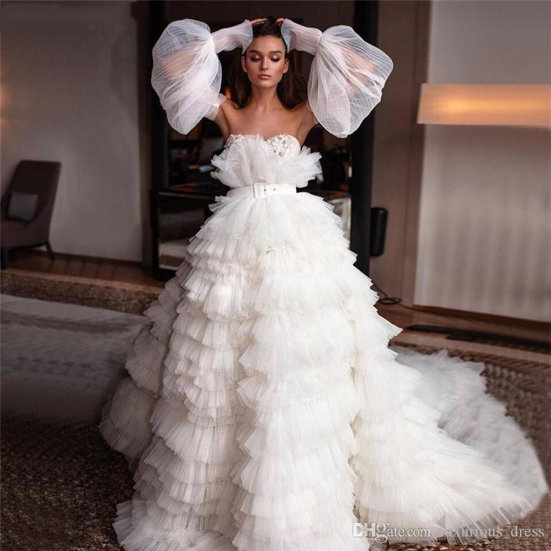 Romantic Off Shoulder Sexy illusion Wedding Dresses Design 2019 Sashes Tiered Simple Bridal Gowns princess wedding dress Custom Made
