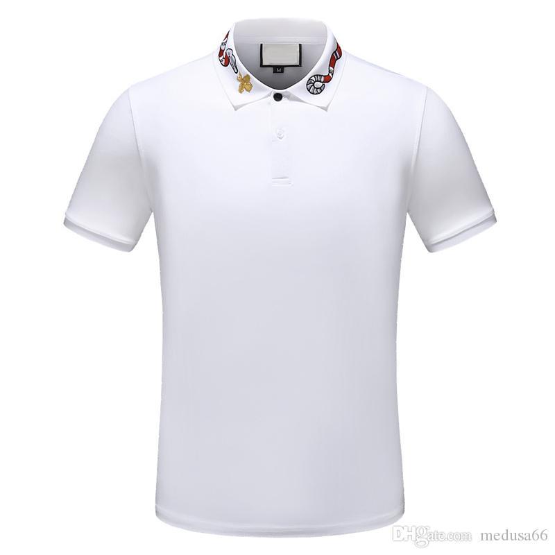 2019 Itália Designer pólo Camisas Homens pólo casual T-shirt snake bee bordado strip polos moda clássico pólo de luxo camisas