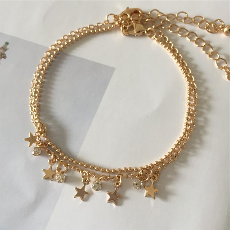 Feminino cor do ouro chapeamento Adorável Estrela da fita Coração de Pedra Lua Charm Bracelet Tornozeleira para a menina Hot Summer Decoração Beach jóias