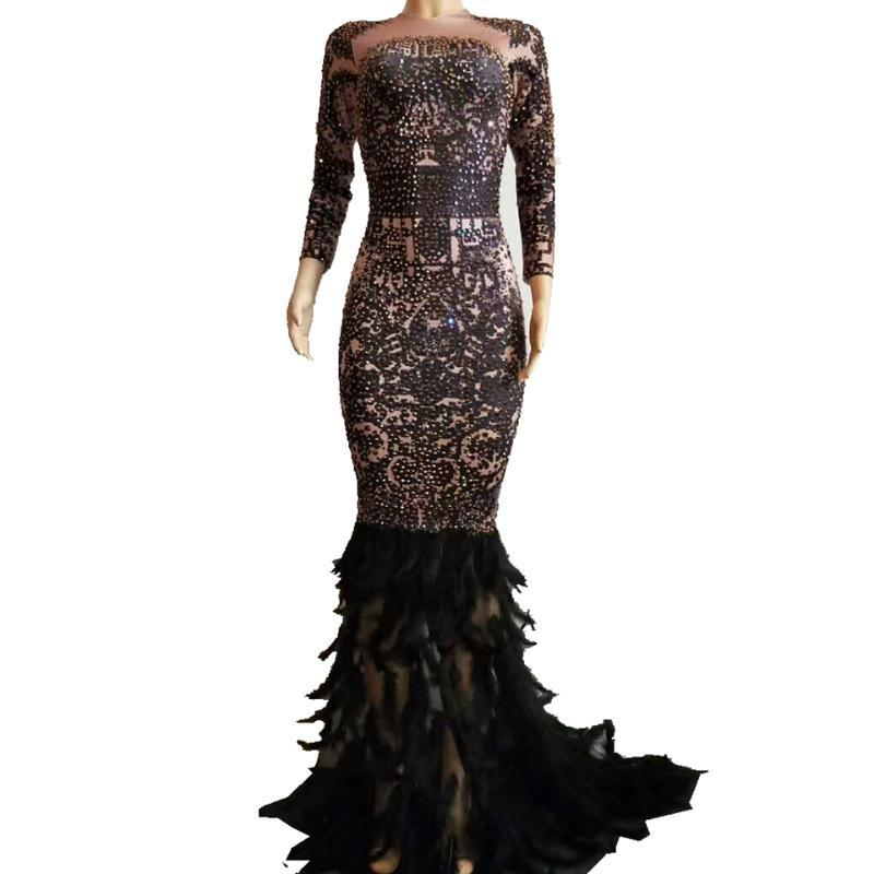 Sparkly strass plume trompette Robe sexy pour femmes Boîte de nuit Robe longue noire Costumes de bal d'anniversaire Célébrer Robes de soirée