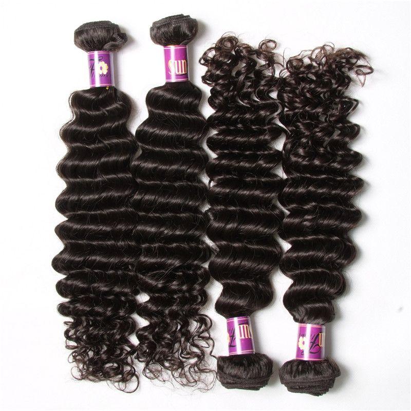 50 ٪ من عذراء الشعر البرازيلي صفقات ربطة الشعر موجة عميقة الإنسان الشعر ينسج 4pcs الكثير البرازيلية الجملة الطبيعية نسج