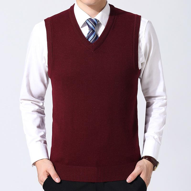 Oeak Knitted Pullover Men V-Neck Sleeveless Formal Business Pull Homme Casual Solid Sweater Men Thin Classic Sweaters Vest