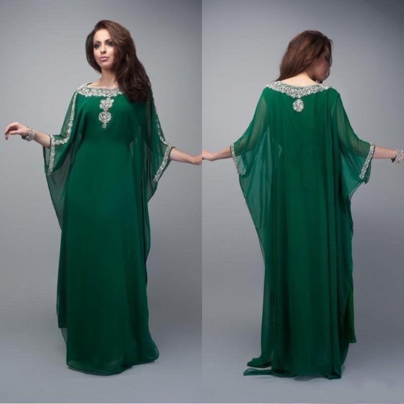Vintage Dubai Fantasia Vestidos de Noite Islâmica 2019 A-Linha Plus Size Party Wear Cristais Árabe Kaftan Prom Vestidos Maxi Vestido
