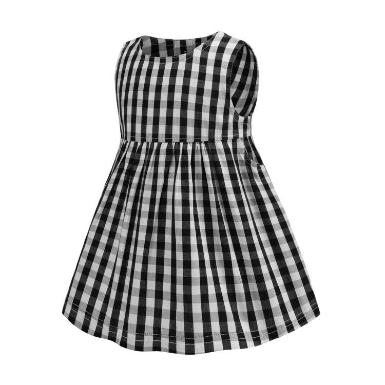 Retail girls dresses baby girl black plaid sleeveless dress cotton princess skirt kids casual skirts children boutique fashion clothing