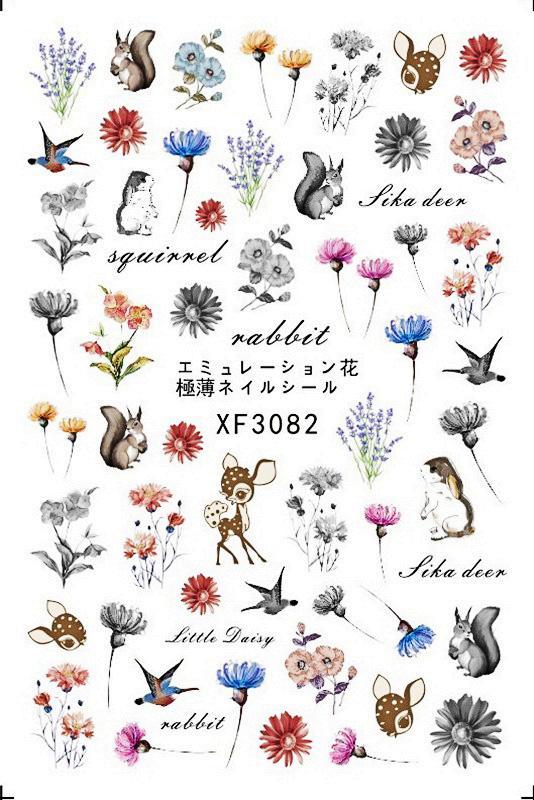 30 Styles! FLORALS Patterns Cartoon! 1 Fiche Nails Art manucure Retour colle Nail Design Sticker pour ongles Décoration