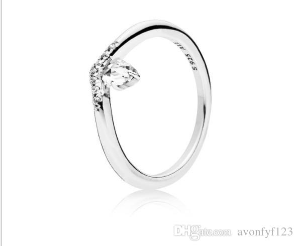 Jewelry water drop Ring Set Original Box for Pan 925 Sterling Silver V-Shape Women Girls Wedding diamond Rings W197