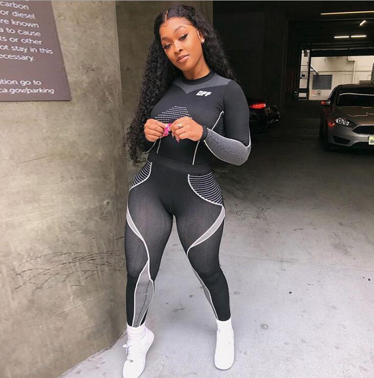 mulheres Kliou alta elástica treino de fitness duas peças set top luva cheia + leggings cintura alta imprimir listrado roupas esportivas