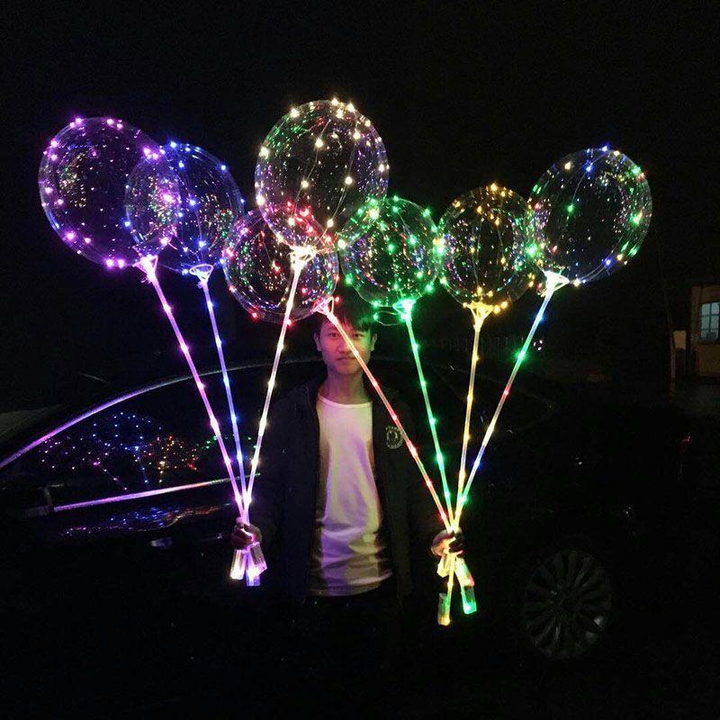 LED Bobo Balon ile 31.5inch Çubuk 3M Dize Balon Işık Noel Cadılar Bayramı Düğün Doğum Günü Partisi Dekorasyon Bobo Balonlar DH1346 T03