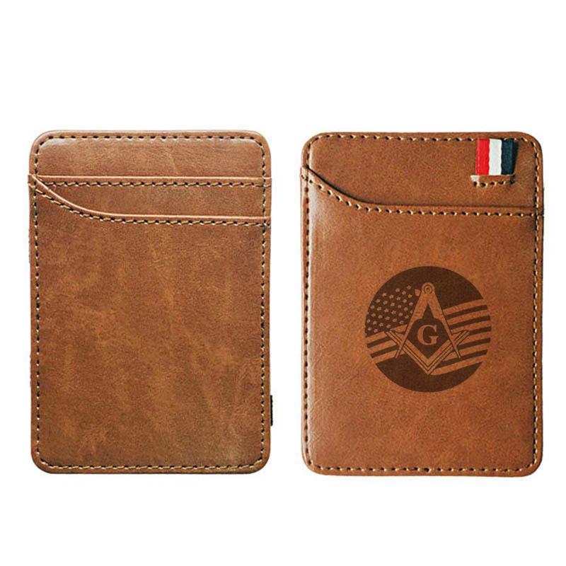 Yüksek kaliteli Amerikan bayrağı masonik Sembol deri sihirli Moda erkek ve kadınlar para klipleri kart çanta nakit tutucu cüzdanlar