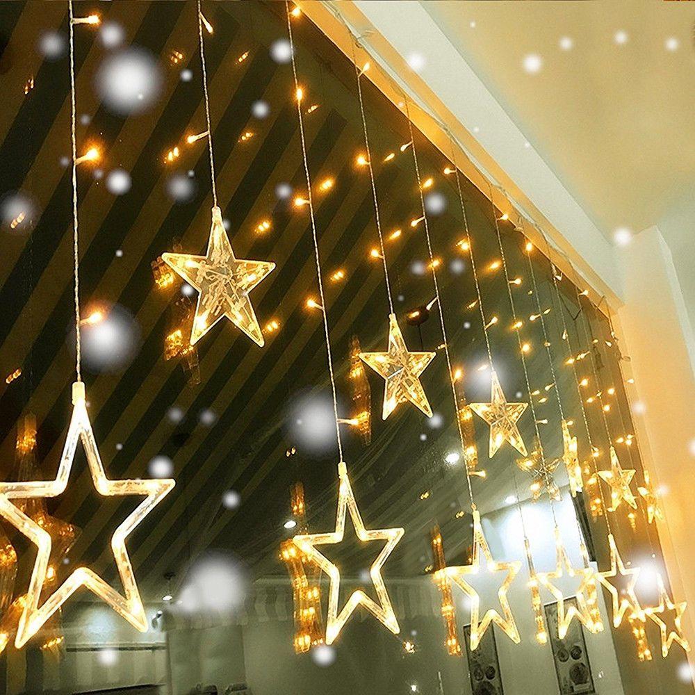 Noel süsleri ışık LED Yıldız AC 220V Yıldız Perde Dize Yeni Yıl Yeni Yıl Düğün Ev Partisi Bahçe Doğum Dekorasyon