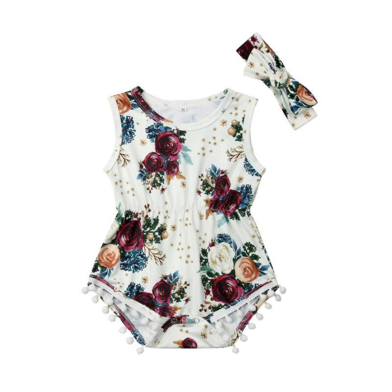 NOUVEAU Nouveau-né bébé fille Vêtements Fleurs blanches Jumpsuit Outfit Vêtements Bandeau été barboteuse
