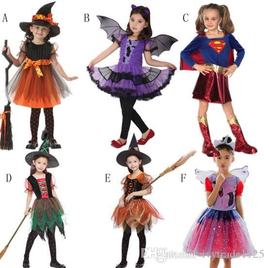 Kids Girl Clothing Halloween Dress Sleeveless Dress Bat Witch Design Cosplay Clothing