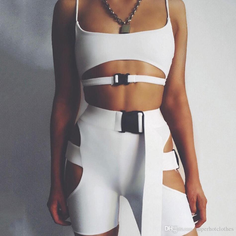 Женский спортивный костюм фитнес йога комплекты спортивная одежда полые дышащие сексуальные пэчворк спортивная одежда без рукавов Холтер плотный тренажерный зал одежда