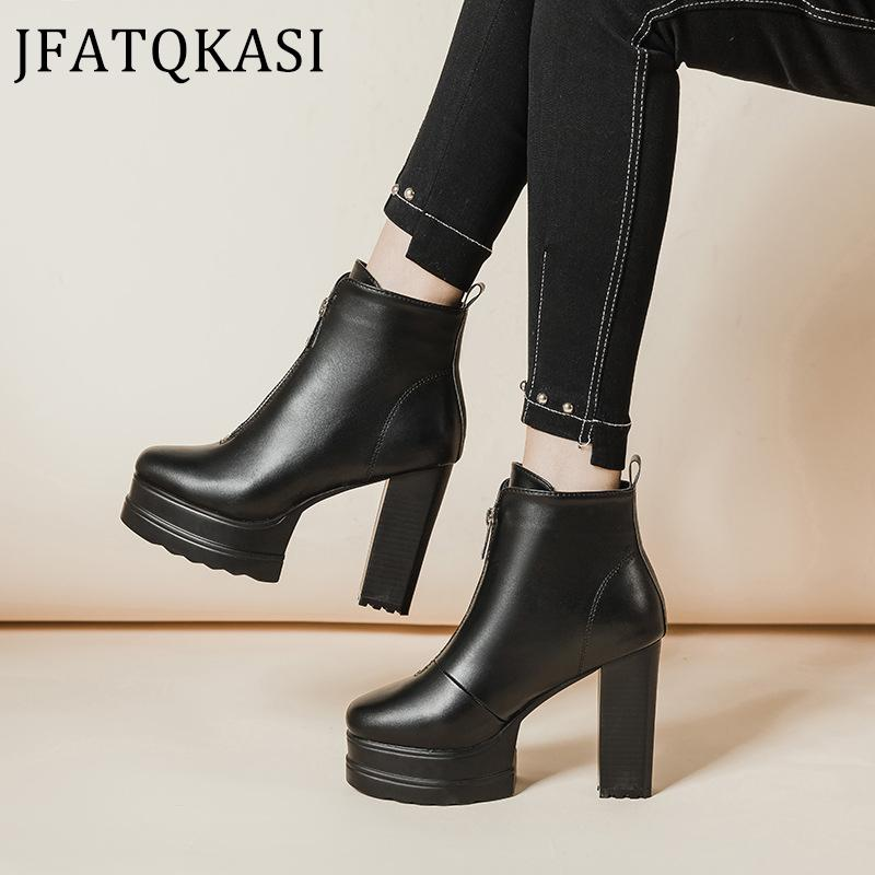 Women Heels Boots Platform Winter Ankle Boots Woman Front Zipper Female Shoes Non-Slip Fashion Brand Female Shoes 2020 New Style