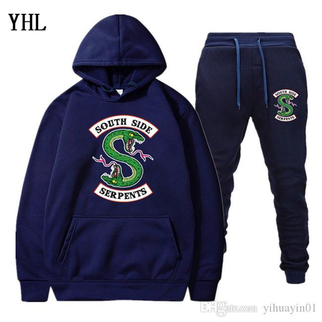 Novos homens treino Dois Hoodies peças + Pants outono / inverno Riverdale hoodies camisolas terno masculino correr Fatos EL-8
