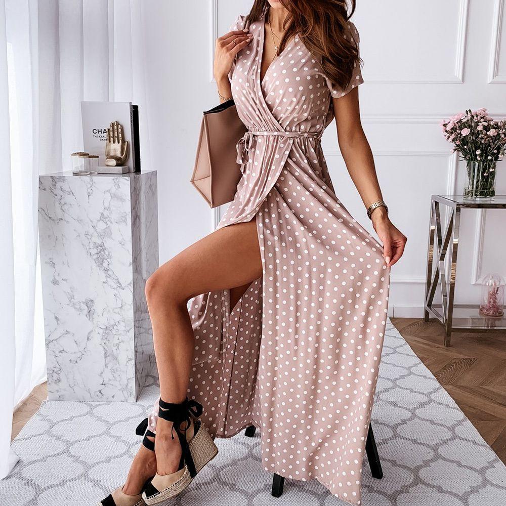 Polka Dot Kleid der Frauen V-Ansatz Sommer Wrap-Kleider für Frauen beiläufigen Vorder Split weiblichen Langes Kleid Büro-Damen Vestidos D25 CX200616