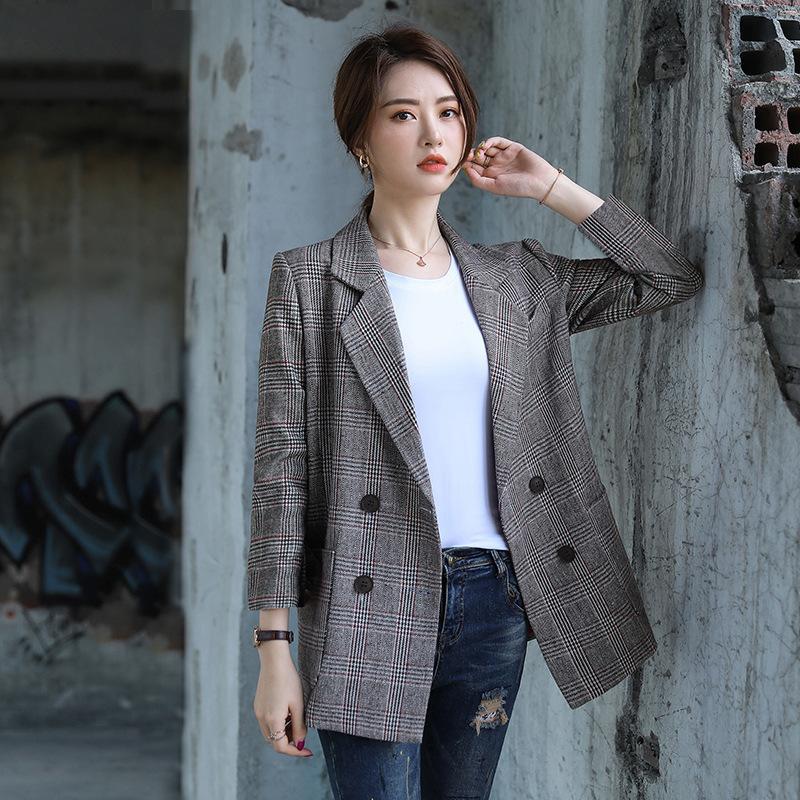 Высокое качество свободные женские куртки новый темперамент дамы плед блейзер офис карьера осень и зима женский костюм большой размер