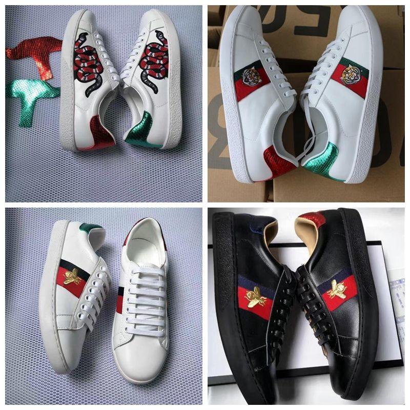 GUCCI Erkek Kadın Tasarımcı Tekne Flats Loafers Lüks Rahat Ayakkabılar Sneakers Beyaz Düşük Hakiki Deri Python Kaplan Arı Çiçek Işlemeli Çin ayakkabı