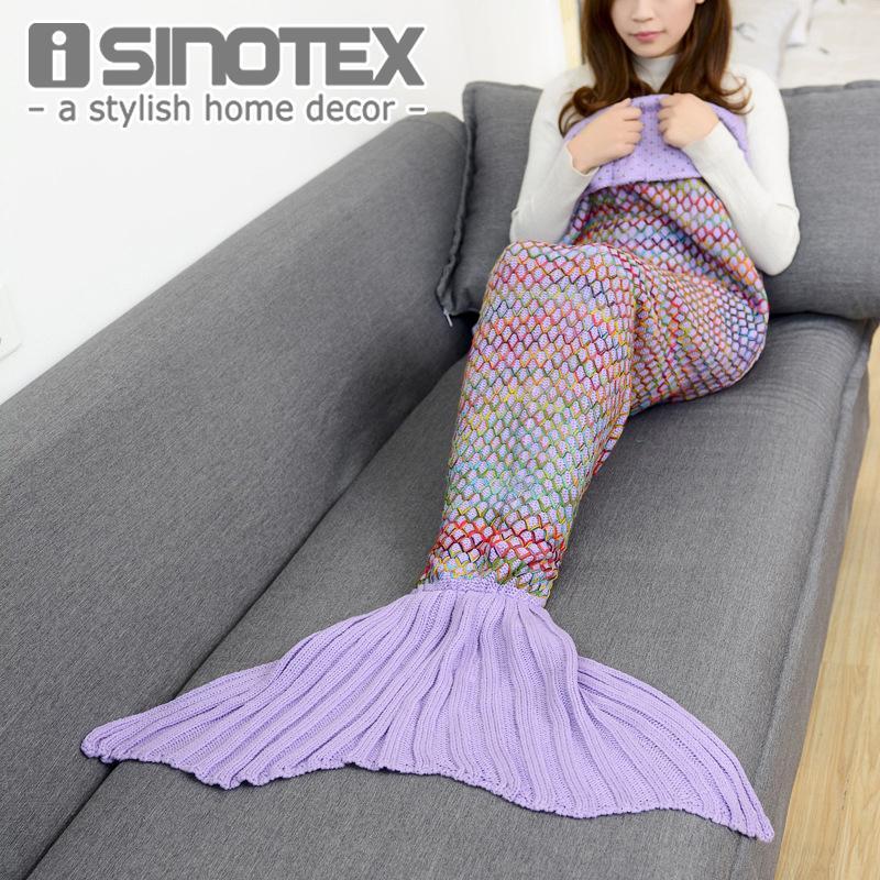 180x90 cm gran tamaño sirena manta hecha a mano de ganchillo Sea Maid Tail manta colorido Kids tiro Super suave D19010902