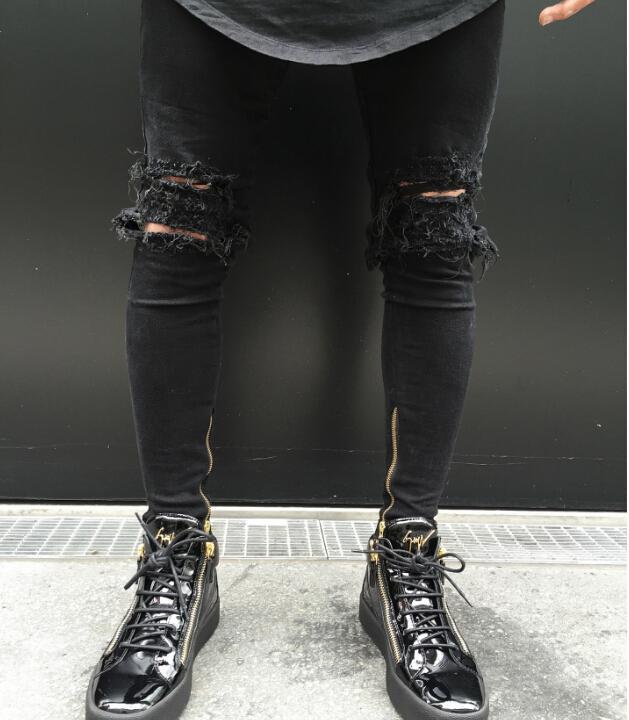 Осенняя мода новые мужчины рваные дыры джинсы проблемные черные брюки карандаш черные длинные брюки одежда для мужчин