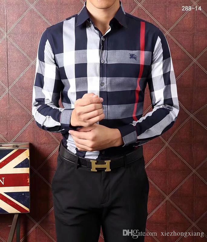 2020 manches longues hommes chemise d'affaires décontractée hommes bande HealthSlim mode masculine sociale nouveau carreaux de mode chemise s-4XL # 88