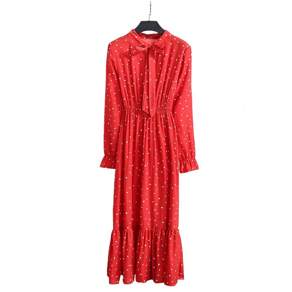 Новое цветочное шифоновое платье для женщин лето осень с длинным рукавом Высокая Талия круглый вырез платья женская юбка одежда