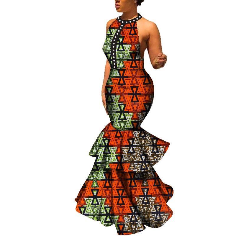 Kadın Moda Uzun Elbise Seksi Kolsuz Backless O-Boyun Düğün Parti Elbise Geleneksel Afrika Baskı Bazin Riche Elbiseler WY198