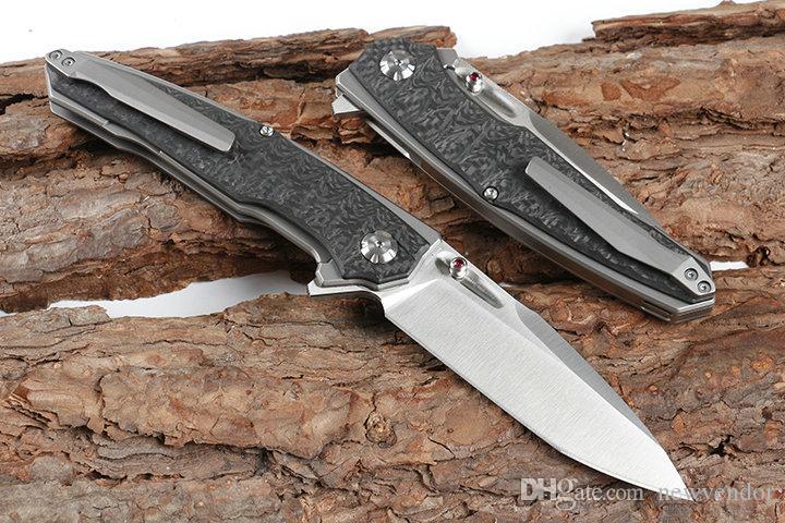 High Quality Strong Flipper Folding Knife D2 Satin Blade Carbon Fiber + TC4 Titanium Alloy Handle Ball Bearing Fast Open EDC Knives