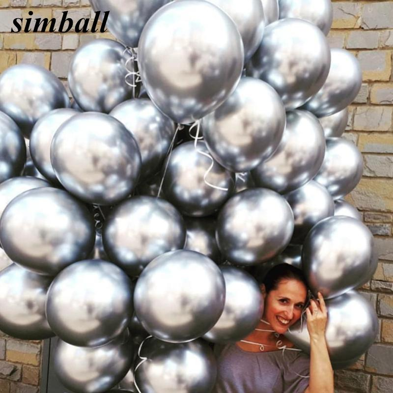 50pcs 12inch Latex Chrome Gold Silver Wedding Baby Shower Birthday Carnival Party Decor Metallic Balloons Supplies Helium Favors SH190920