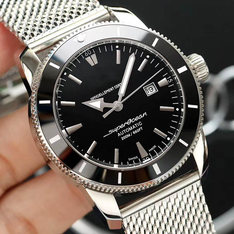 Luxe Superocean chronographe à quartz mode Mouvement automatique Hommes Argent Watch Montres pour homme Montres-bracelets inoxydable Stell