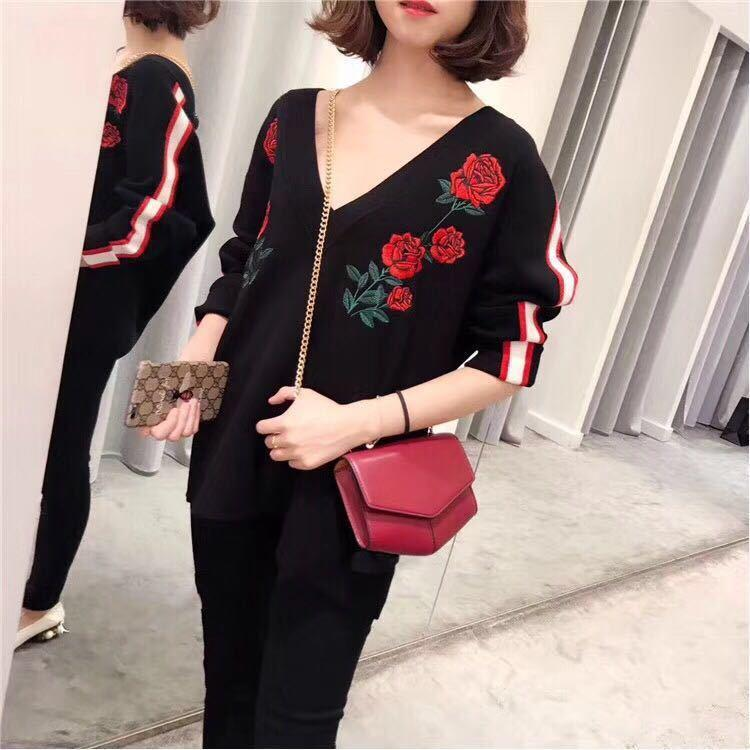 17 Rose Bordados V Wool Knitting camisa Collar Female S2107h7661