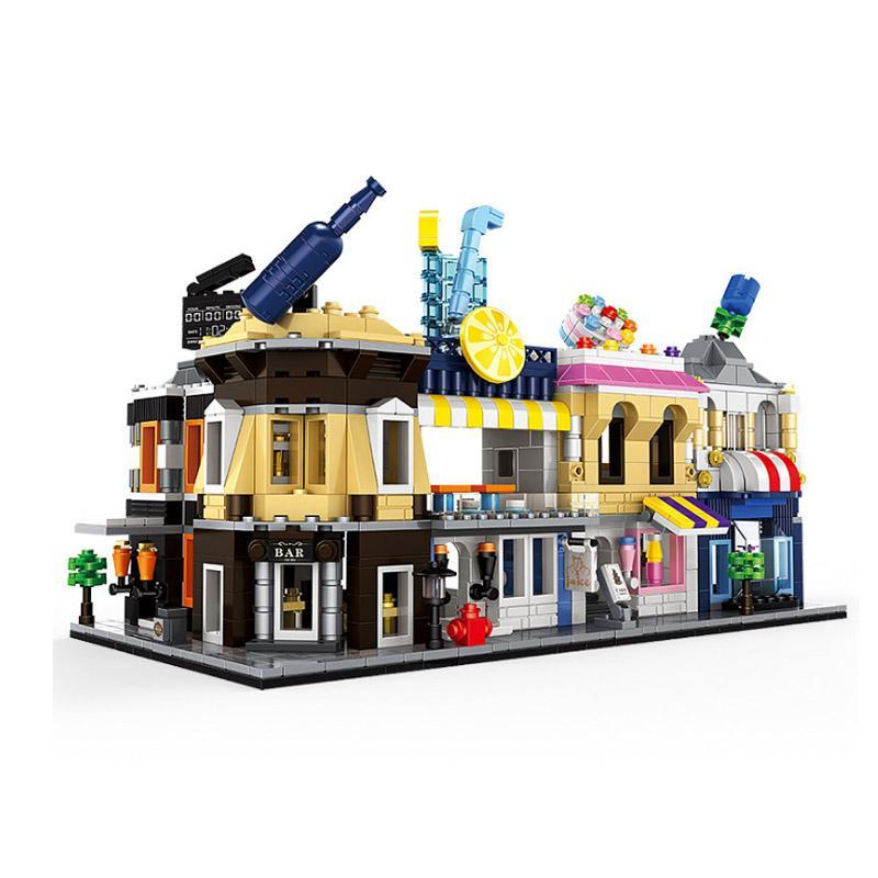 Wange architecture series mini street shop store model building blocks flower restaurant kids toys compatible legoingly city