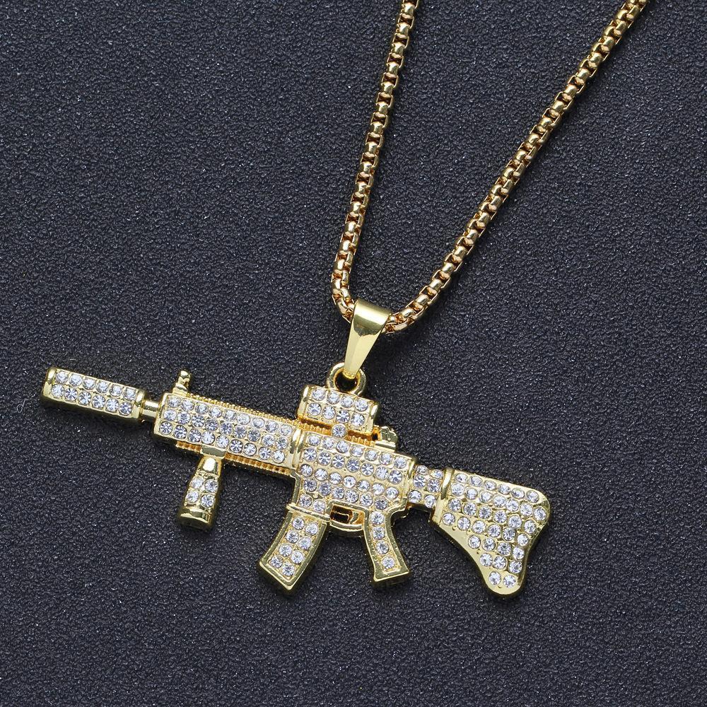 Gold Tone Кристалл Rhinestone Gun Форма ожерелье Творческий Hiphops Punk Стиль AK47 Ожерелье для мужчин