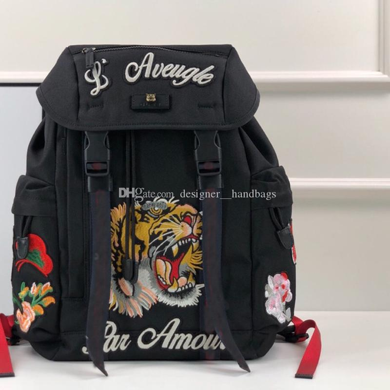 Backpack Women Black Embroidery Classic Tiger Flowers Pattern Ladies Purses Canvas Real Leather High Quality Shoulder Bags