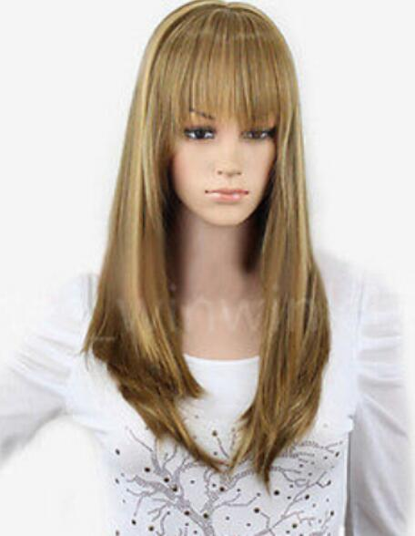 FREE SHIPPING+++ New Fashion Casual Khaki Brown Medium Long Straight Women's Full Wigs