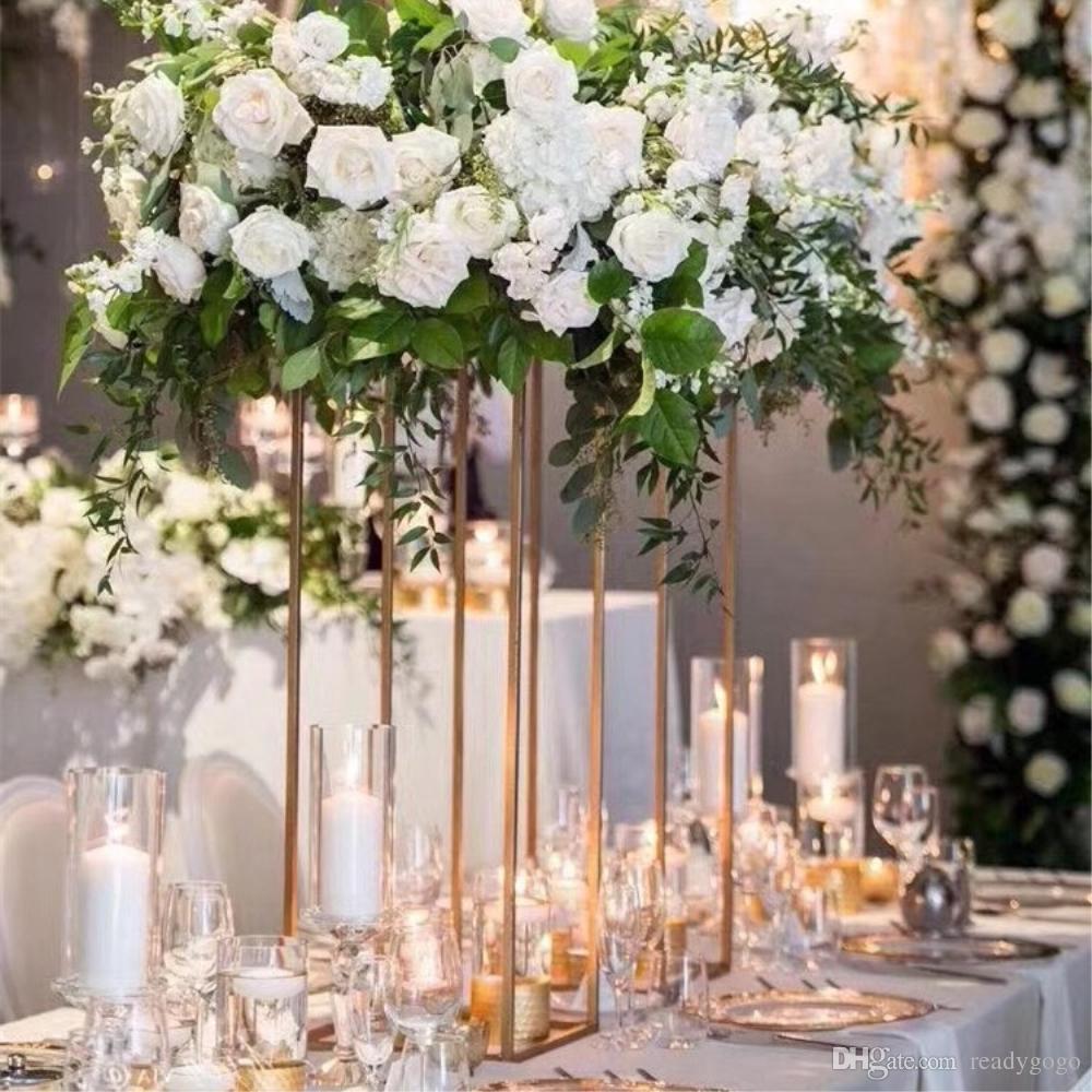10PCS oro de la flor vaso de piso floreros columna de la base de metal del camino principal central de la flor de la boda de rack para la decoración del acontecimiento del partido