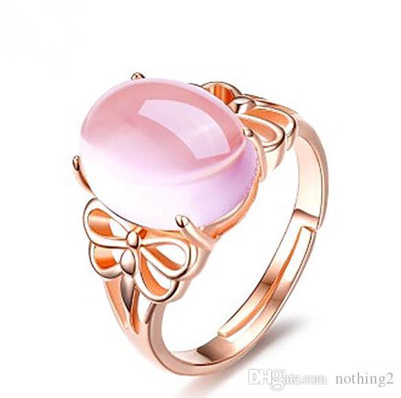 La mujer de oro rosa anillo de las mujeres naturales de cristal rosado Furong Piedra Joya de apertura ajustable anillo de la joyería de la CZ