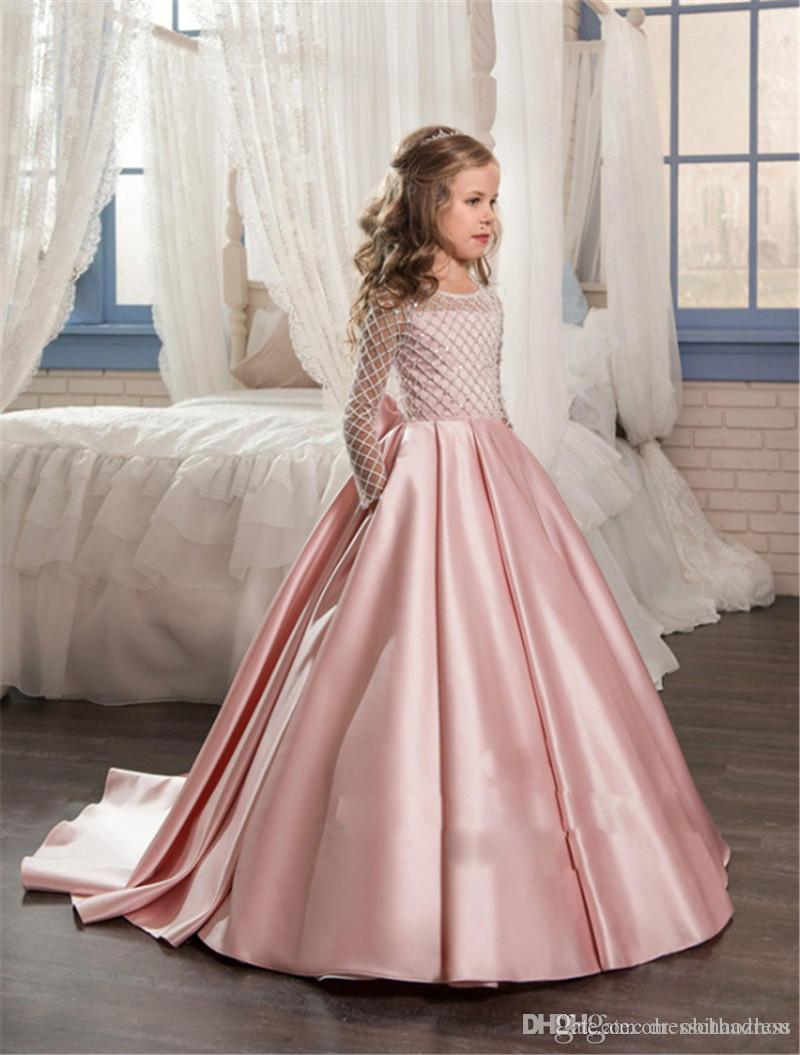 Unique Mesh Child Flower Girl Dresses Girl Lace Satin Cloth Folds Bow Small Trailing Princess Dress Birthday Party Dress
