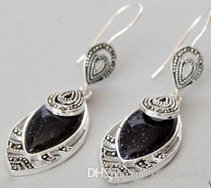 Amantes de las mujeres buena Retro Vintage negro rojo piedra de arena 925 piedra esterlina ganchos Marcasita pendientes