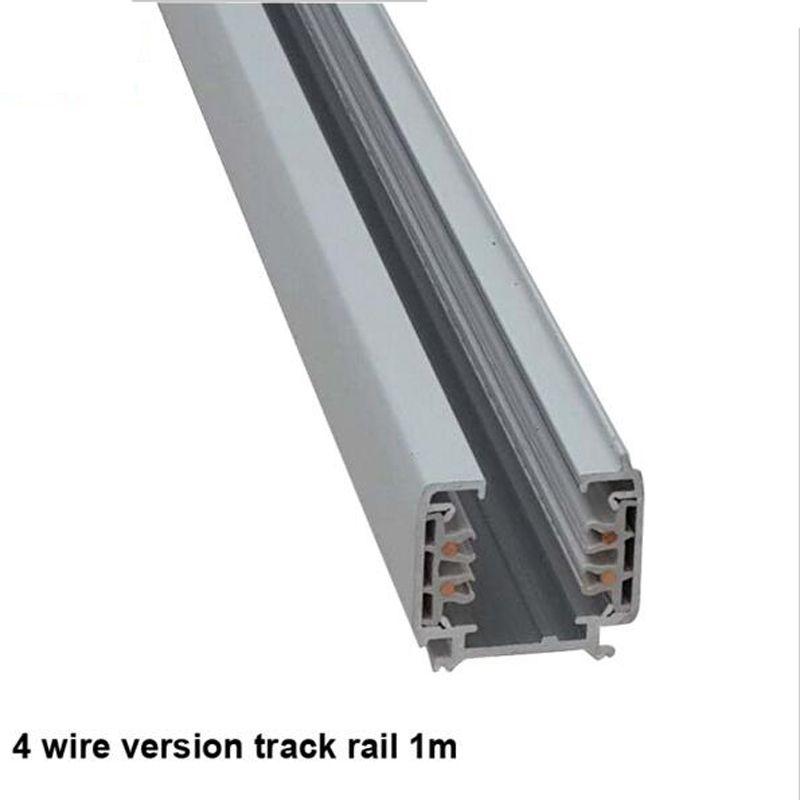 Fanlive 5pcsTrack Rail 3 Phase Circuit 4 Wire LED Track Light Rail Lighting نظام المسار العالمي القضبان المسار مصباح السكك الحديدية 1 متر